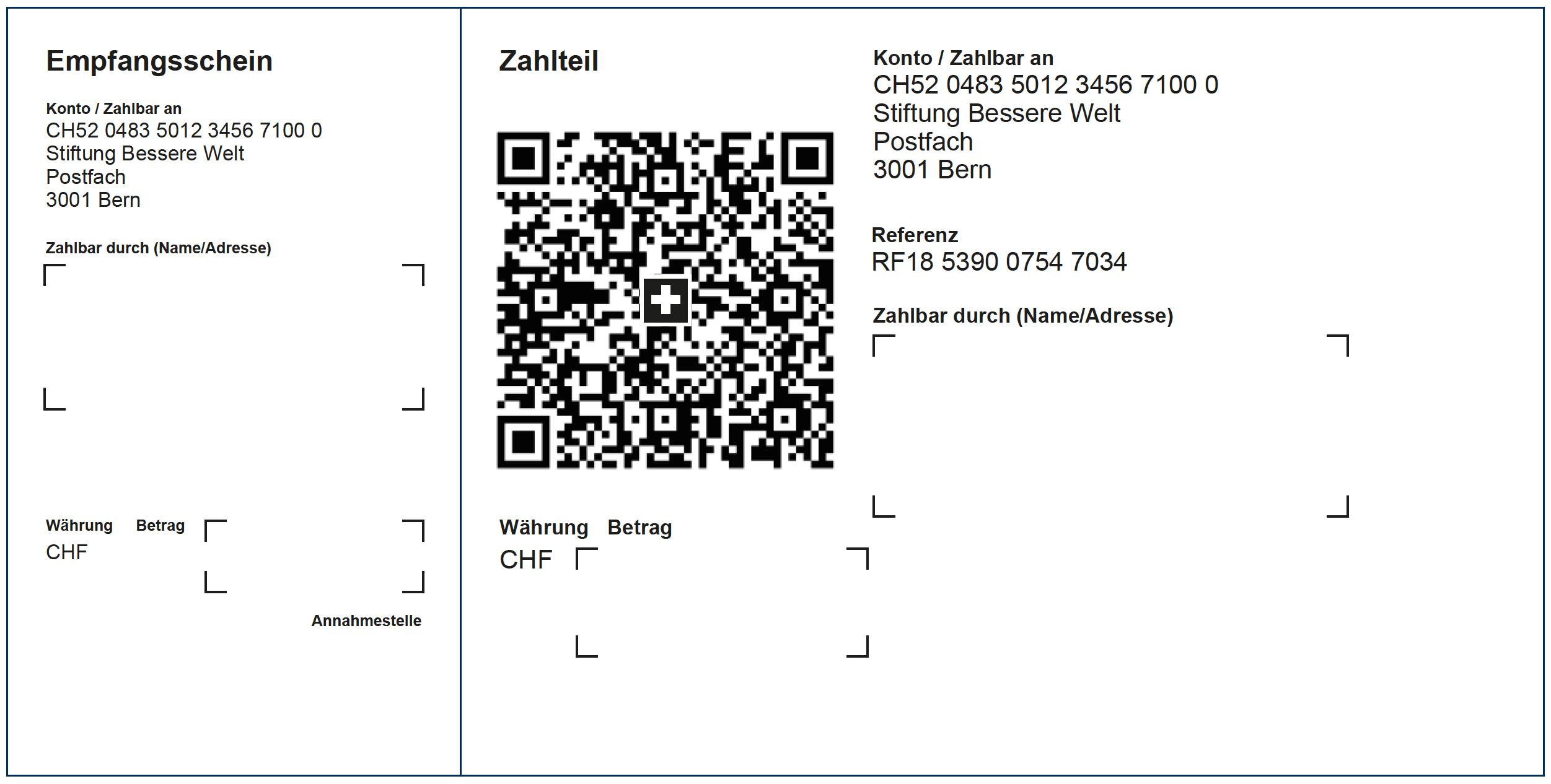 Abbildung der neuen QR-Rechnung mit einer Referenz.