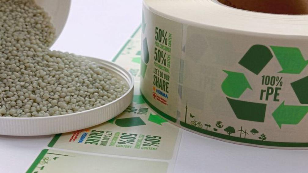 Beispiel von einer Recycling Etiketten.