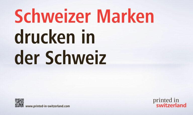 """Druckerzeugniss von """"Printed in Swizerland""""."""