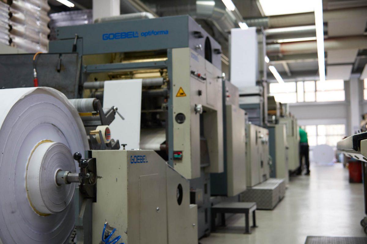 Unsere Druckmaschine in der Produktion.